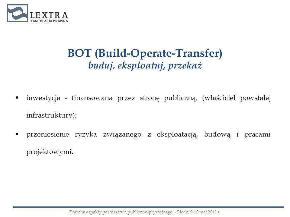BOT (Build-Operate-Transfer) buduj, eksploatuj, przekaż inwestycja - finansowana przez stronę publiczną, (właściciel powstałej infrastruktury); przeni