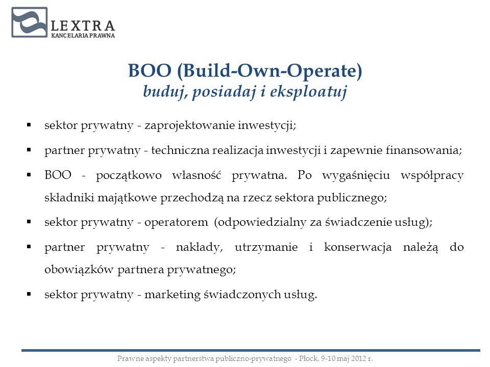 BOO (Build-Own-Operate) buduj, posiadaj i eksploatuj sektor prywatny - zaprojektowanie inwestycji; partner prywatny - techniczna realizacja inwestycji