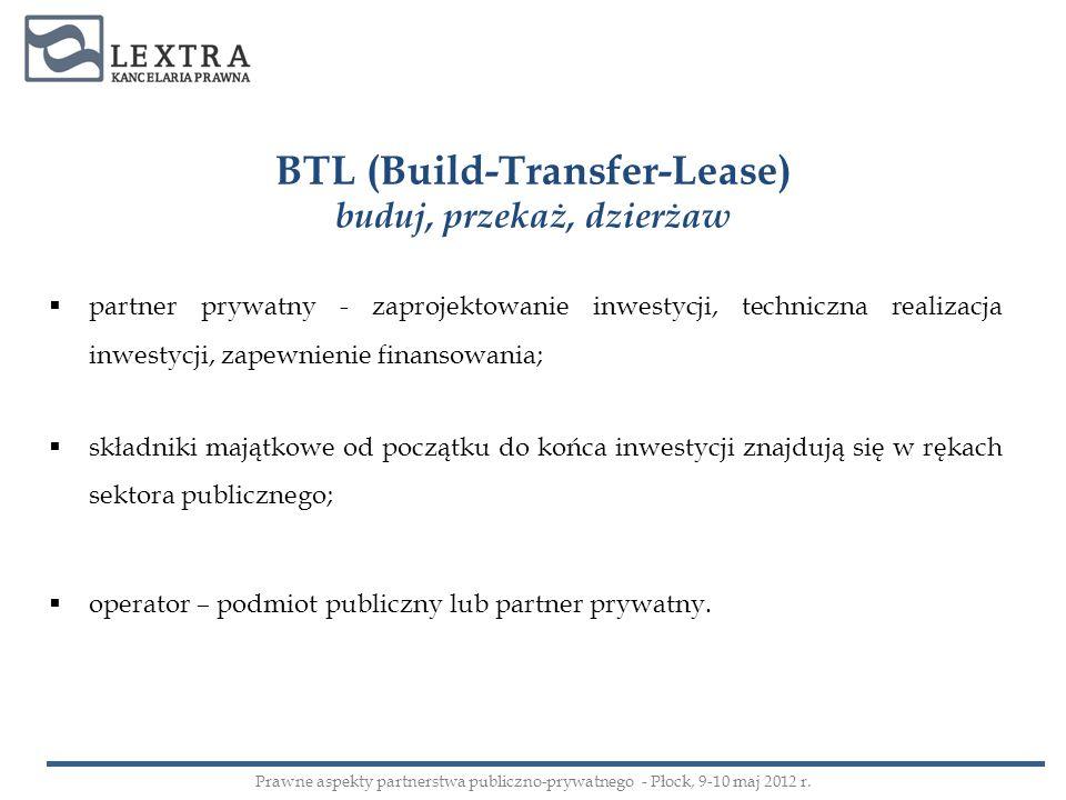 BTL (Build-Transfer-Lease) buduj, przekaż, dzierżaw partner prywatny - zaprojektowanie inwestycji, techniczna realizacja inwestycji, zapewnienie finan