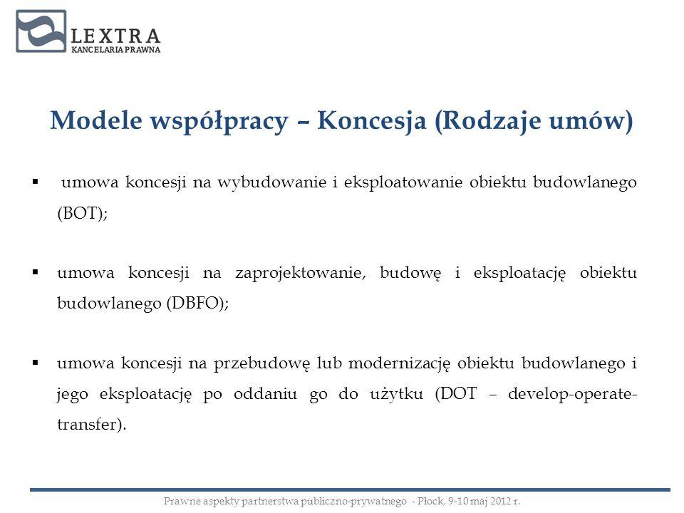 Modele współpracy – Koncesja (Rodzaje umów) umowa koncesji na wybudowanie i eksploatowanie obiektu budowlanego (BOT); umowa koncesji na zaprojektowani