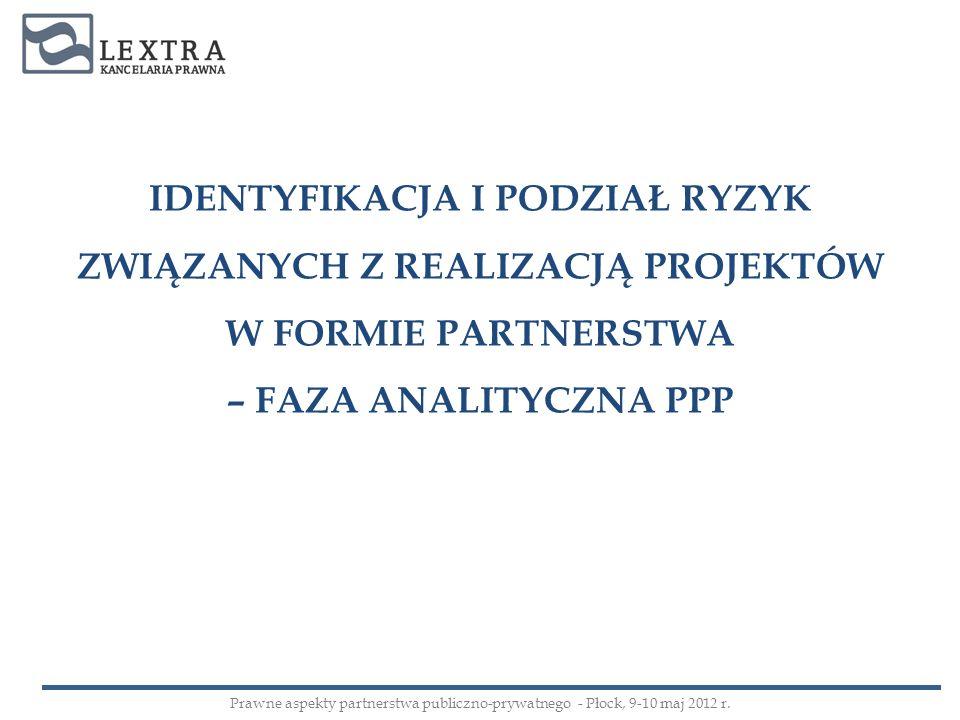 IDENTYFIKACJA I PODZIAŁ RYZYK ZWIĄZANYCH Z REALIZACJĄ PROJEKTÓW W FORMIE PARTNERSTWA – FAZA ANALITYCZNA PPP Prawne aspekty partnerstwa publiczno-prywa