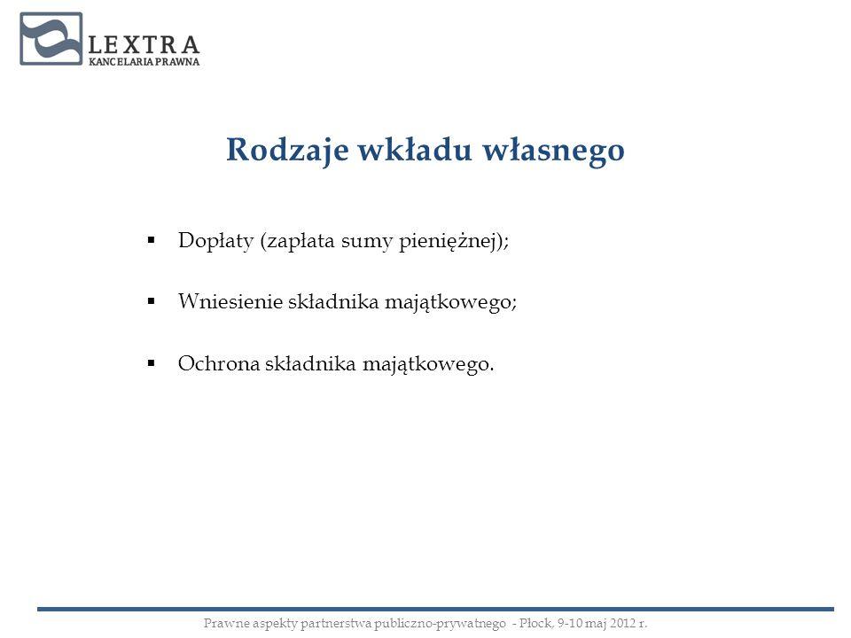 Rodzaje wkładu własnego Dopłaty (zapłata sumy pieniężnej); Wniesienie składnika majątkowego; Ochrona składnika majątkowego. Prawne aspekty partnerstwa