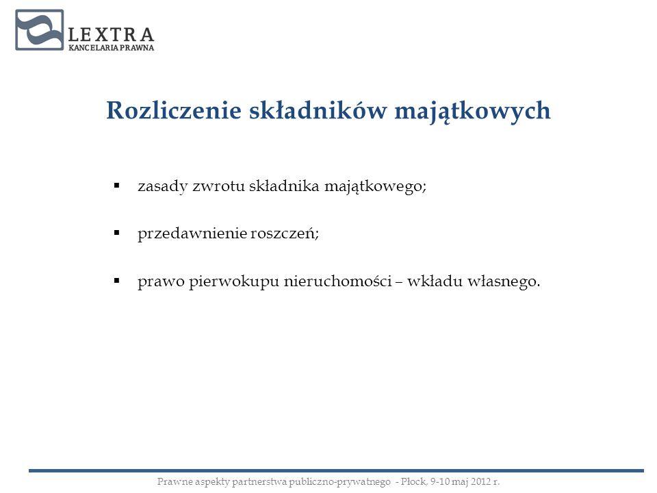 Rozliczenie składników majątkowych zasady zwrotu składnika majątkowego; przedawnienie roszczeń; prawo pierwokupu nieruchomości – wkładu własnego. Praw