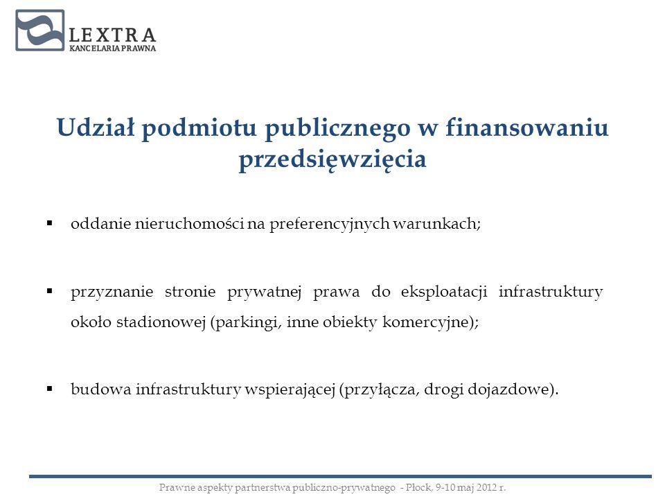 Udział podmiotu publicznego w finansowaniu przedsięwzięcia oddanie nieruchomości na preferencyjnych warunkach; przyznanie stronie prywatnej prawa do e