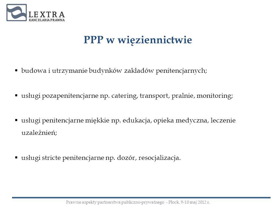 PPP w więziennictwie budowa i utrzymanie budynków zakładów penitencjarnych; usługi pozapenitencjarne np. catering, transport, pralnie, monitoring; usł