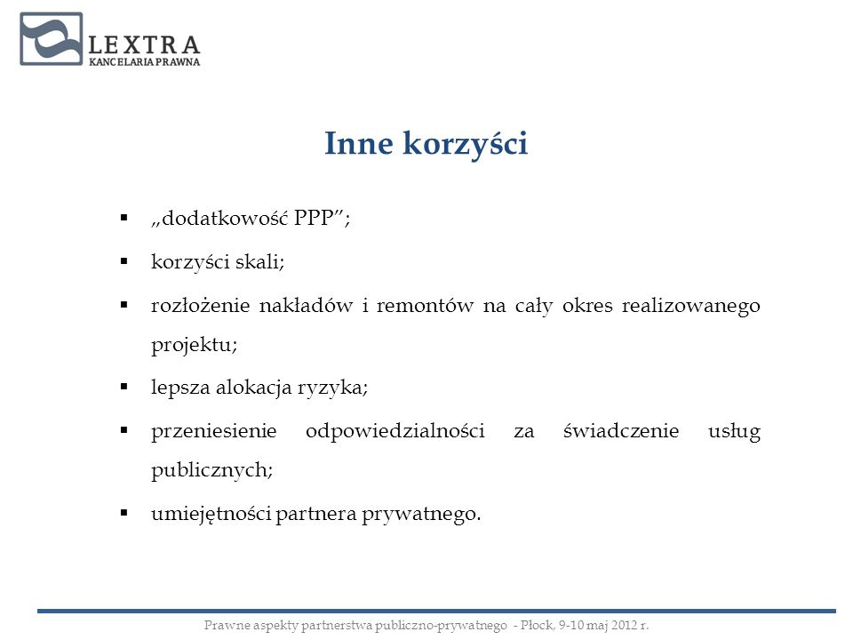 UMOWY PPP – c.d.2. Essentialia negotii – c.d.