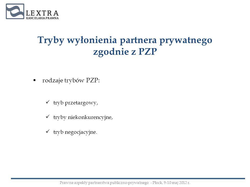 Tryby wyłonienia partnera prywatnego zgodnie z PZP rodzaje trybów PZP: tryb przetargowy, tryby niekonkurencyjne, tryb negocjacyjne. Prawne aspekty par