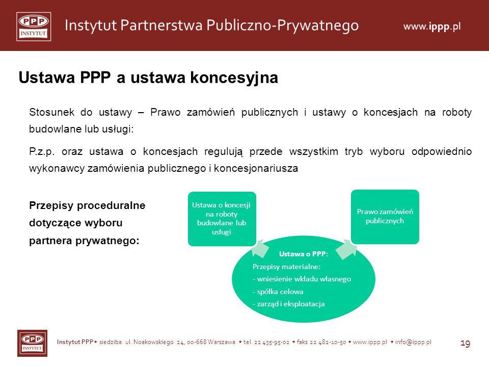 Instytut PPP siedziba: ul. Noakowskiego 24, 00-668 Warszawa tel. 22 435-95-02 faks 22 482-10-50 www.ippp.pl info@ippp.pl 19 Instytut Partnerstwa Publi