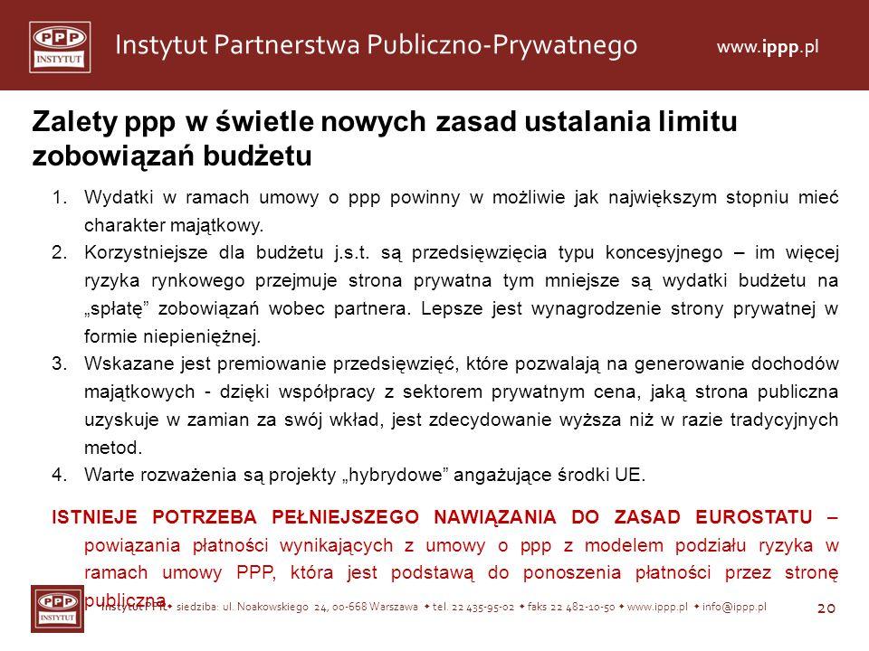 Instytut PPP siedziba: ul. Noakowskiego 24, 00-668 Warszawa tel. 22 435-95-02 faks 22 482-10-50 www.ippp.pl info@ippp.pl 20 Instytut Partnerstwa Publi
