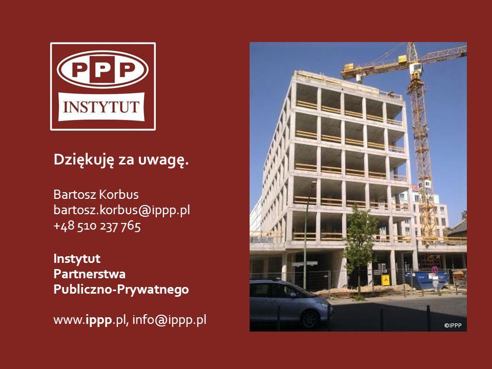 21 Institute for Public-Private Partnership Dziękuję za uwagę. Bartosz Korbus bartosz.korbus@ippp.pl +48 510 237 765 Instytut Partnerstwa Publiczno-Pr