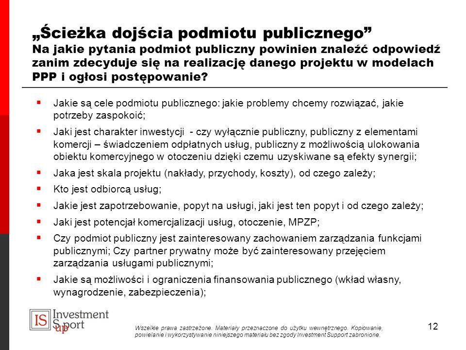 12 Ścieżka dojścia podmiotu publicznego Na jakie pytania podmiot publiczny powinien znaleźć odpowiedź zanim zdecyduje się na realizację danego projektu w modelach PPP i ogłosi postępowanie.
