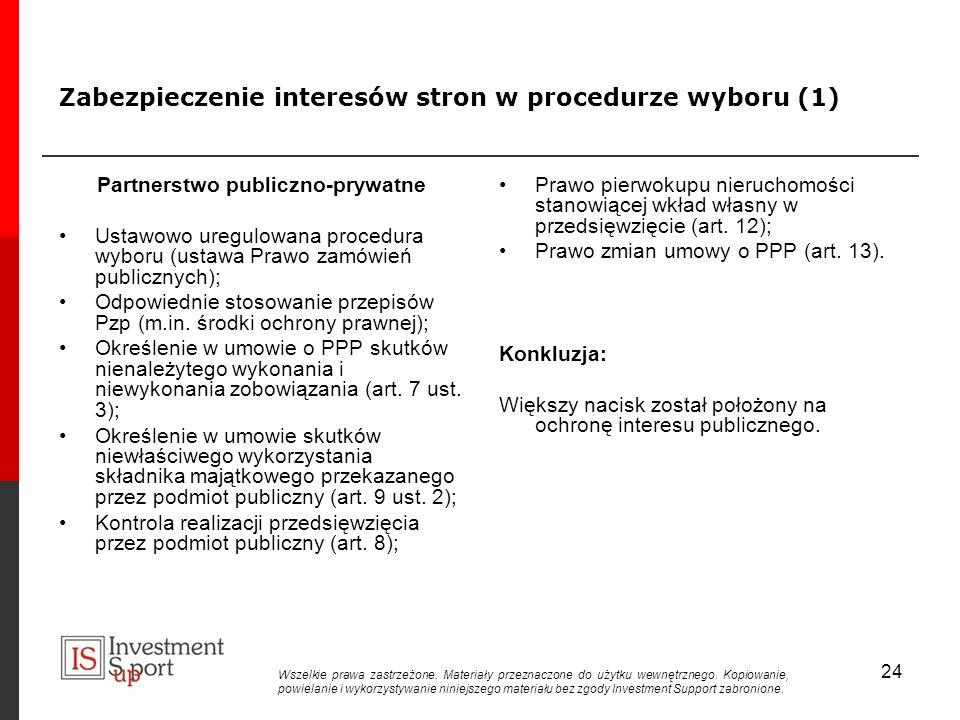 Zabezpieczenie interesów stron w procedurze wyboru (1) Partnerstwo publiczno-prywatne Ustawowo uregulowana procedura wyboru (ustawa Prawo zamówień publicznych); Odpowiednie stosowanie przepisów Pzp (m.in.