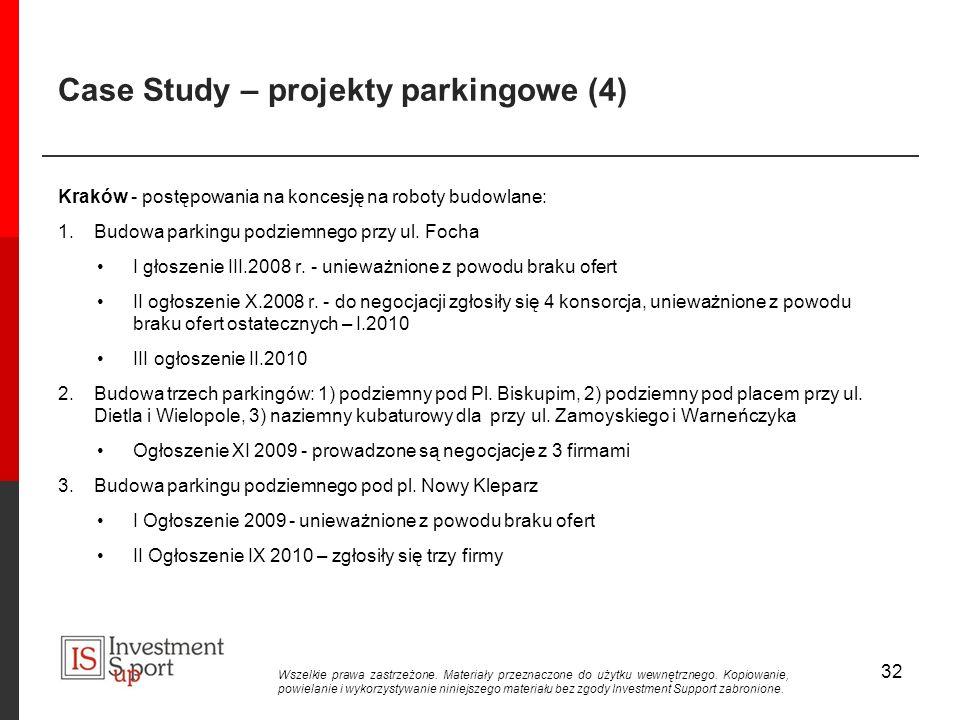 Case Study – projekty parkingowe (4) Kraków - postępowania na koncesję na roboty budowlane: 1.Budowa parkingu podziemnego przy ul.