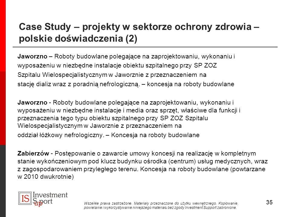 35 Case Study – projekty w sektorze ochrony zdrowia – polskie doświadczenia (2) Jaworzno – Roboty budowlane polegające na zaprojektowaniu, wykonaniu i wyposażeniu w niezbędne instalacje obiektu szpitalnego przy SP ZOZ Szpitalu Wielospecjalistycznym w Jaworznie z przeznaczeniem na stację dializ wraz z poradnią nefrologiczną.