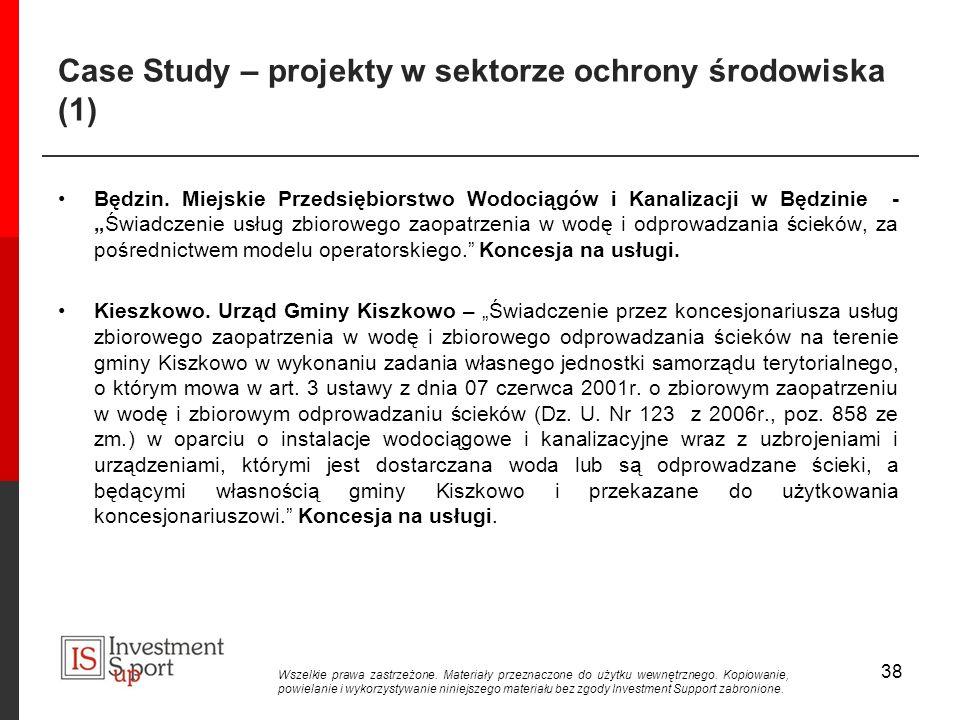 Case Study – projekty w sektorze ochrony środowiska (1) Będzin.