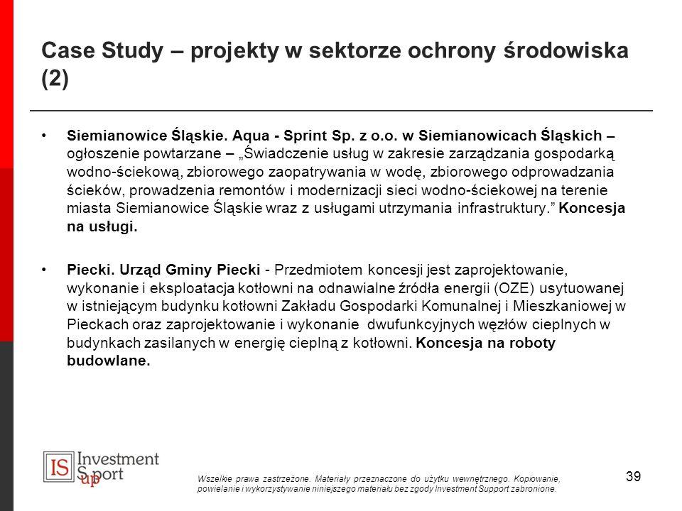 Case Study – projekty w sektorze ochrony środowiska (2) Siemianowice Śląskie.