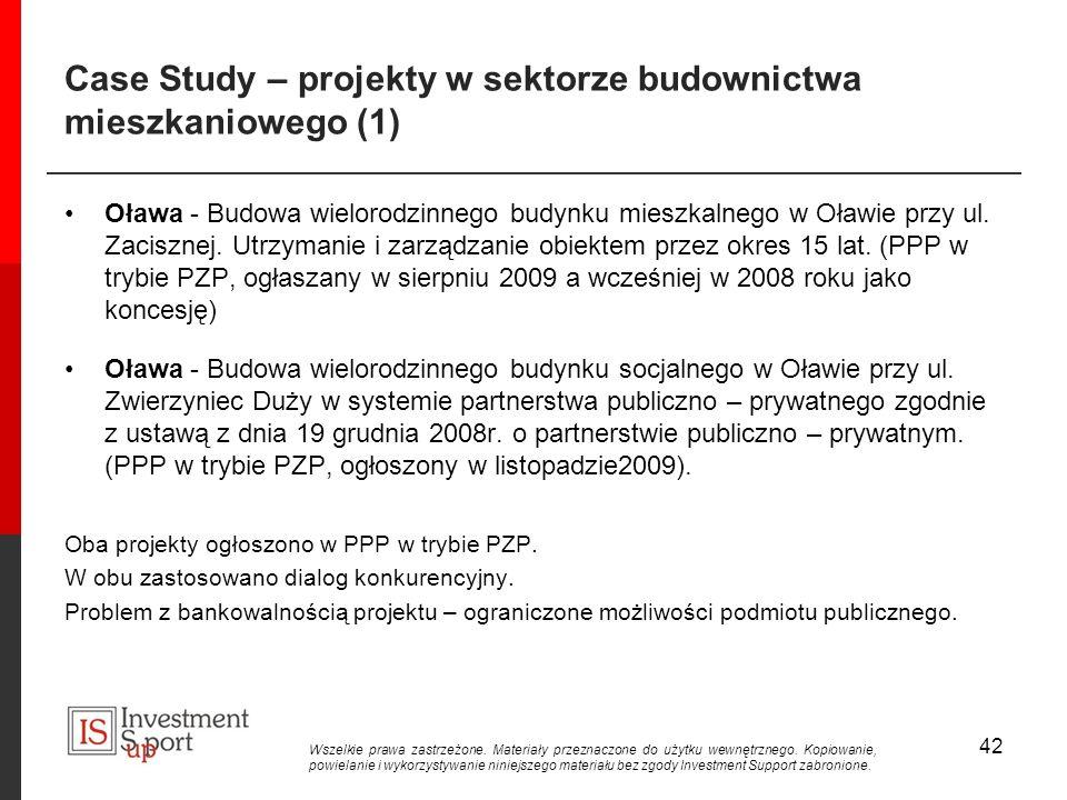 Case Study – projekty w sektorze budownictwa mieszkaniowego (1) Oława - Budowa wielorodzinnego budynku mieszkalnego w Oławie przy ul.