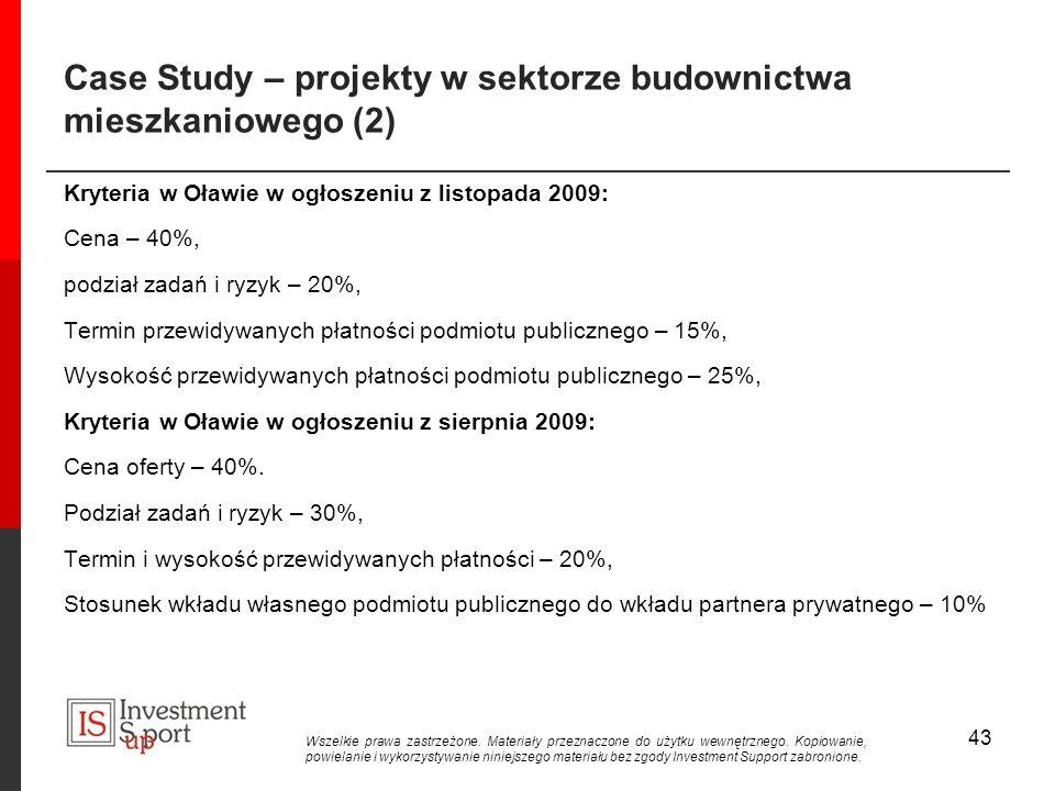 Case Study – projekty w sektorze budownictwa mieszkaniowego (2) Kryteria w Oławie w ogłoszeniu z listopada 2009: Cena – 40%, podział zadań i ryzyk – 20%, Termin przewidywanych płatności podmiotu publicznego – 15%, Wysokość przewidywanych płatności podmiotu publicznego – 25%, Kryteria w Oławie w ogłoszeniu z sierpnia 2009: Cena oferty – 40%.