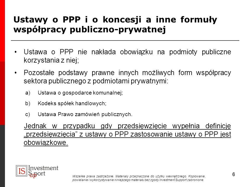 Ustawy o PPP i o koncesji a inne formuły współpracy publiczno-prywatnej Ustawa o PPP nie nakłada obowiązku na podmioty publiczne korzystania z niej; Pozostałe podstawy prawne innych możliwych form współpracy sektora publicznego z podmiotami prywatnymi: a)Ustawa o gospodarce komunalnej; b)Kodeks spółek handlowych; c)Ustawa Prawo zamówień publicznych.