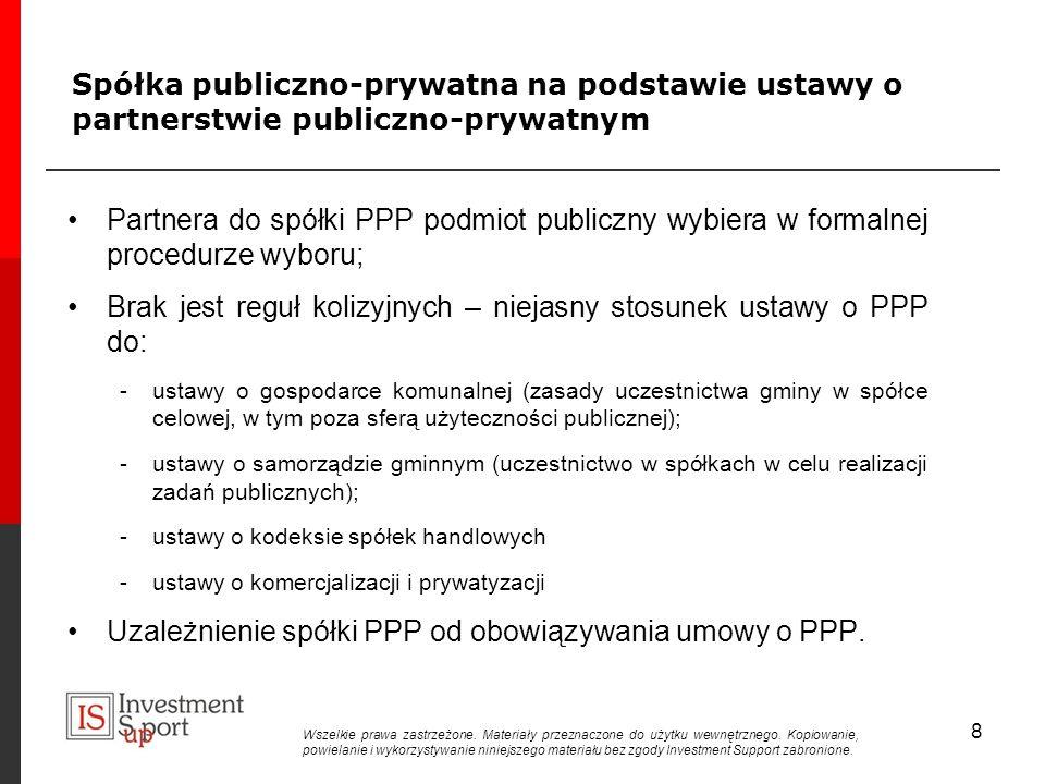 Spółka publiczno-prywatna na podstawie ustawy o partnerstwie publiczno-prywatnym Partnera do spółki PPP podmiot publiczny wybiera w formalnej procedurze wyboru; Brak jest reguł kolizyjnych – niejasny stosunek ustawy o PPP do: -ustawy o gospodarce komunalnej (zasady uczestnictwa gminy w spółce celowej, w tym poza sferą użyteczności publicznej); -ustawy o samorządzie gminnym (uczestnictwo w spółkach w celu realizacji zadań publicznych); -ustawy o kodeksie spółek handlowych -ustawy o komercjalizacji i prywatyzacji Uzależnienie spółki PPP od obowiązywania umowy o PPP.