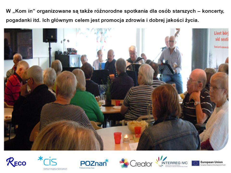W Kom in organizowane są także różnorodne spotkania dla osób starszych – koncerty, pogadanki itd. Ich głównym celem jest promocja zdrowia i dobrej jak