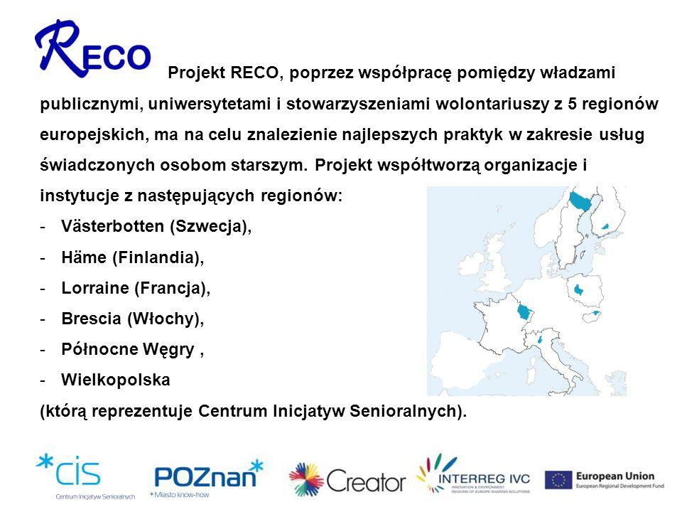 Projekt RECO, poprzez współpracę pomiędzy władzami publicznymi, uniwersytetami i stowarzyszeniami wolontariuszy z 5 regionów europejskich, ma na celu