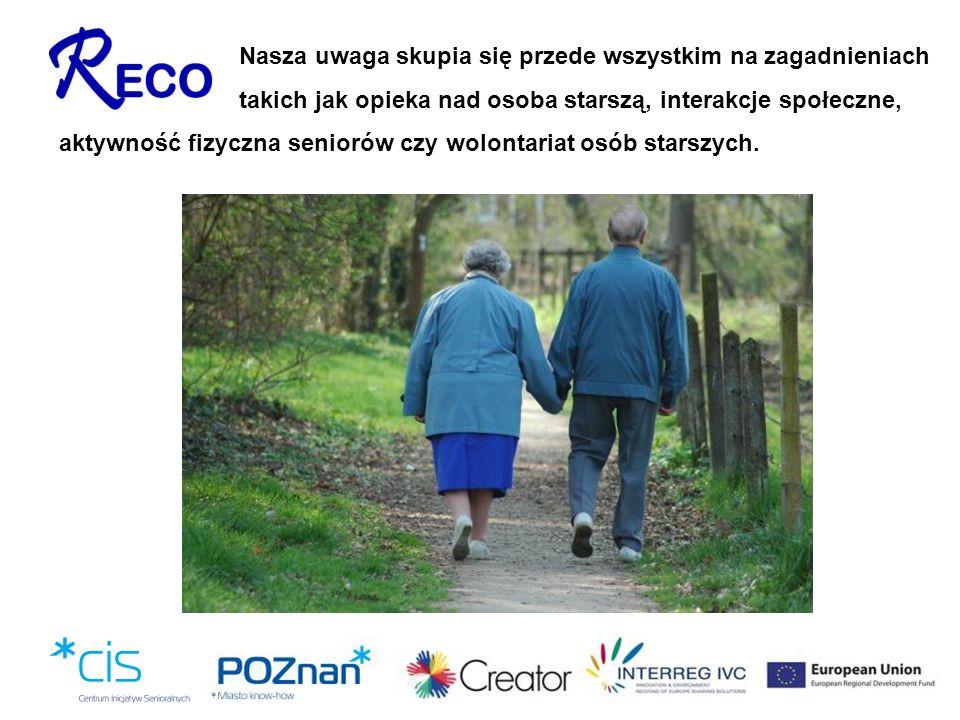 Nasza uwaga skupia się przede wszystkim na zagadnieniach takich jak opieka nad osoba starszą, interakcje społeczne, aktywność fizyczna seniorów czy wo
