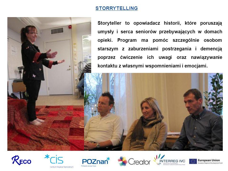 STORRYTELLING Storyteller to opowiadacz historii, które poruszają umysły i serca seniorów przebywających w domach opieki. Program ma pomóc szczególnie