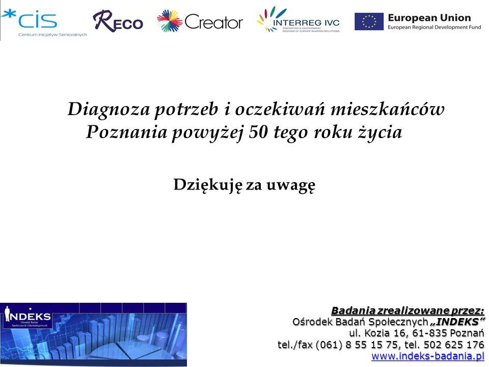 Diagnoza potrzeb i oczekiwań mieszkańców Poznania powyżej 50 tego roku życia Badania zrealizowane przez: Ośrodek Badań Społecznych INDEKS ul. Kozia 16