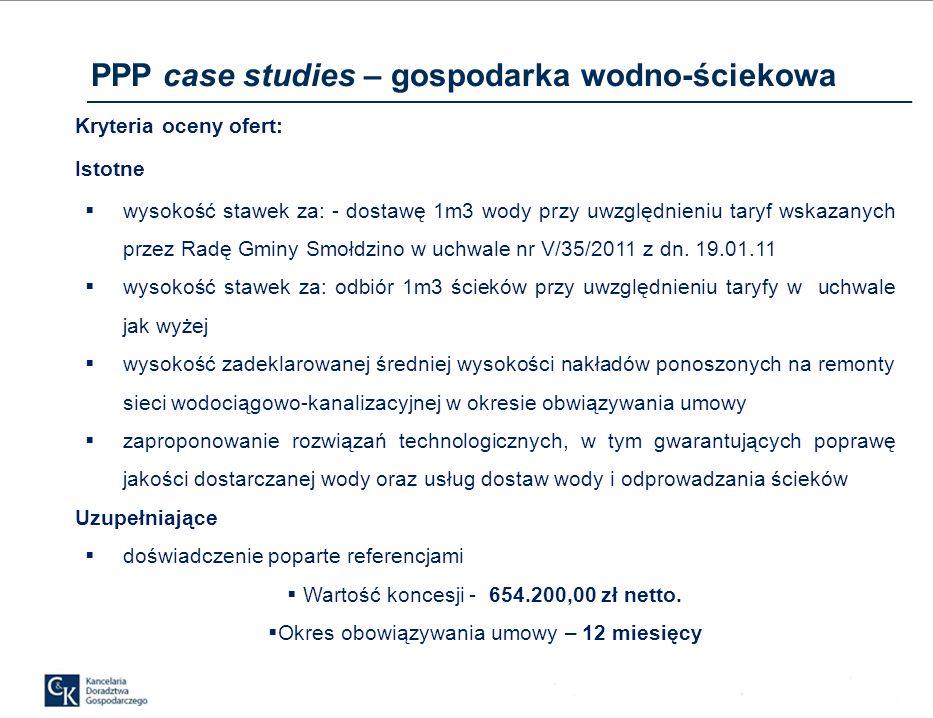 Kryteria oceny ofert: Istotne wysokość stawek za: - dostawę 1m3 wody przy uwzględnieniu taryf wskazanych przez Radę Gminy Smołdzino w uchwale nr V/35/2011 z dn.