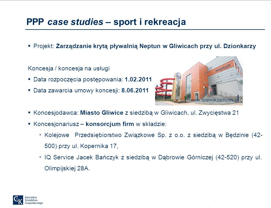 Projekt: Zarządzanie krytą pływalnią Neptun w Gliwicach przy ul.