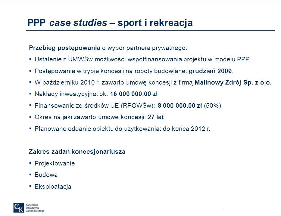Przebieg postępowania o wybór partnera prywatnego: Ustalenie z UMWŚw możliwości współfinansowania projektu w modelu PPP.