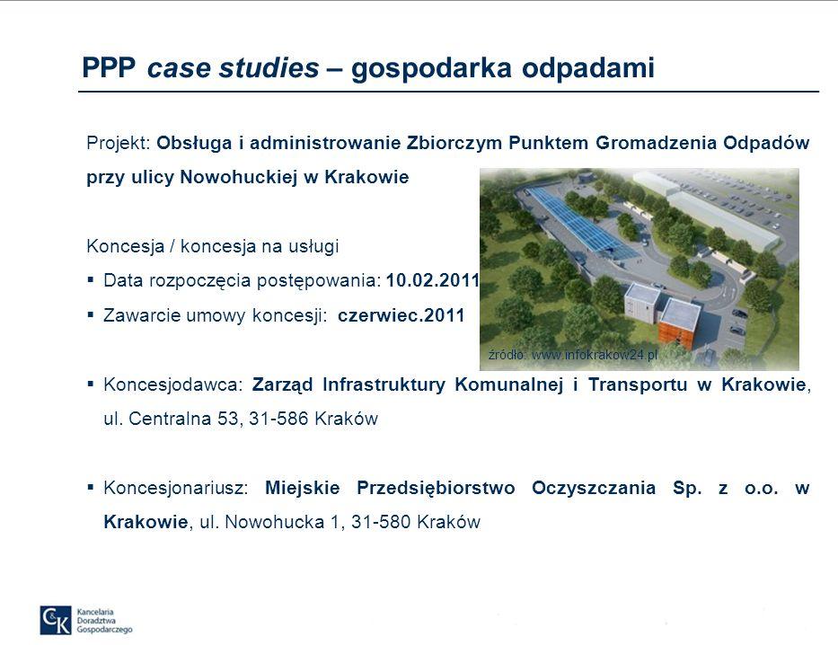 PPP case studies – gospodarka odpadami Przedmiot koncesji: obsługa i administrowanie Zbiorczym Punktem Gromadzenia Odpadów przy ul.