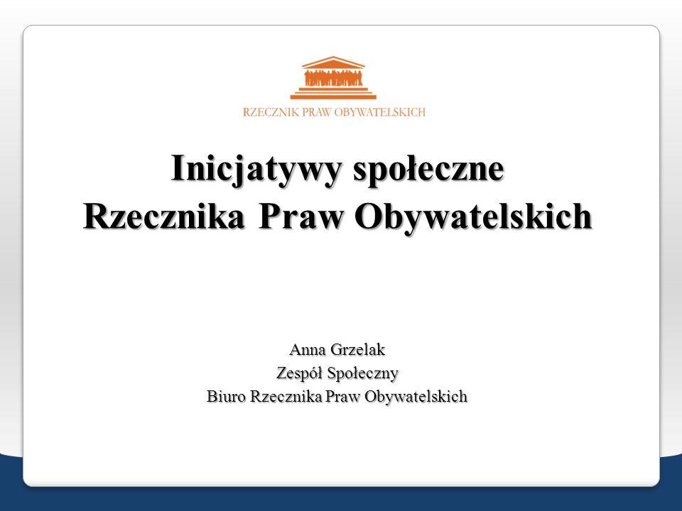 Inicjatywy społeczne Rzecznika Praw Obywatelskich Anna Grzelak Zespół Społeczny Biuro Rzecznika Praw Obywatelskich