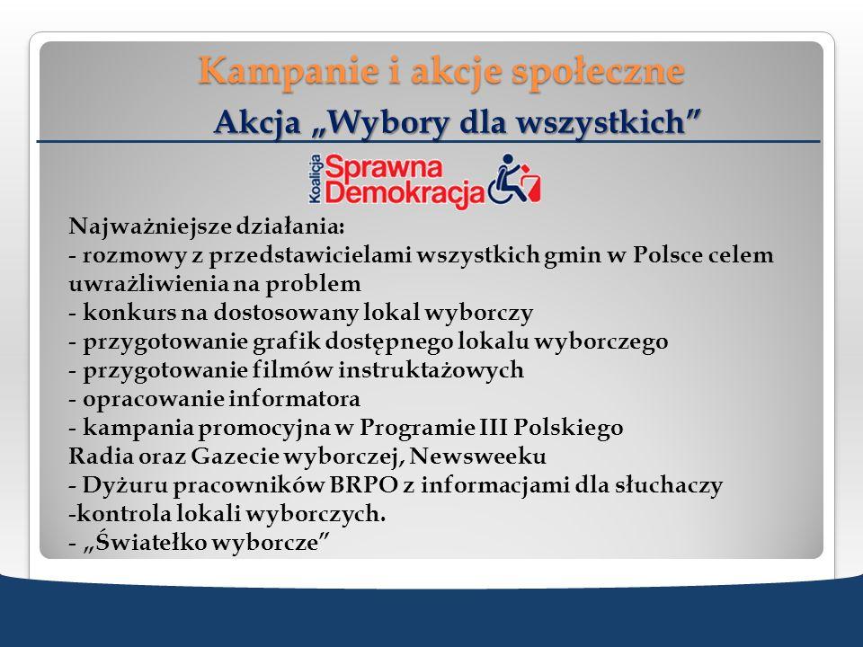 Kampanie i akcje społeczne Akcja Wybory dla wszystkich Najważniejsze działania: - rozmowy z przedstawicielami wszystkich gmin w Polsce celem uwrażliwi