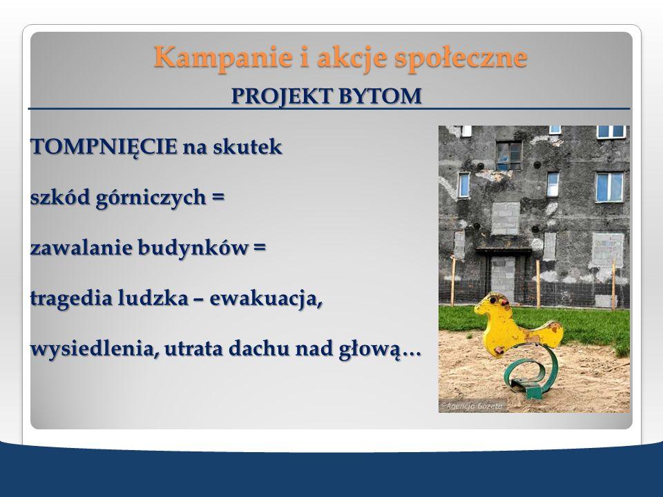 Kampanie i akcje społeczne PROJEKT BYTOM TOMPNIĘCIE na skutek szkód górniczych = zawalanie budynków = tragedia ludzka – ewakuacja, wysiedlenia, utrata
