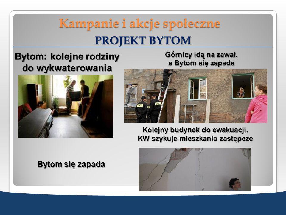 Kampanie i akcje społeczne PROJEKT BYTOM Bytom: kolejne rodziny do wykwaterowania Górnicy idą na zawał, a Bytom się zapada Kolejny budynek do ewakuacj