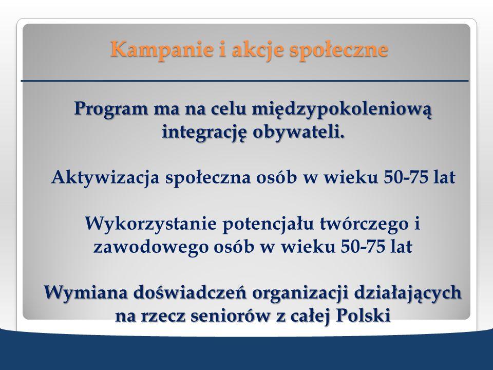 Kampanie i akcje społeczne Program ma na celu międzypokoleniową integrację obywateli. Aktywizacja społeczna osób w wieku 50-75 lat Wykorzystanie poten