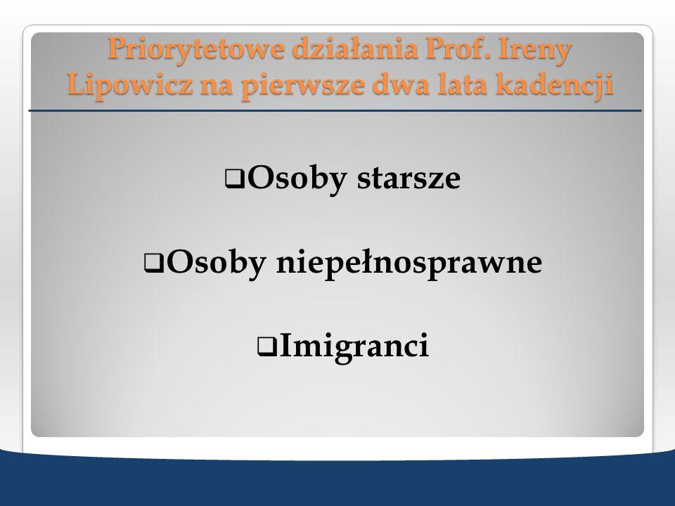 Priorytetowe działania Prof. Ireny Lipowicz na pierwsze dwa lata kadencji Osoby starsze Osoby niepełnosprawne Imigranci