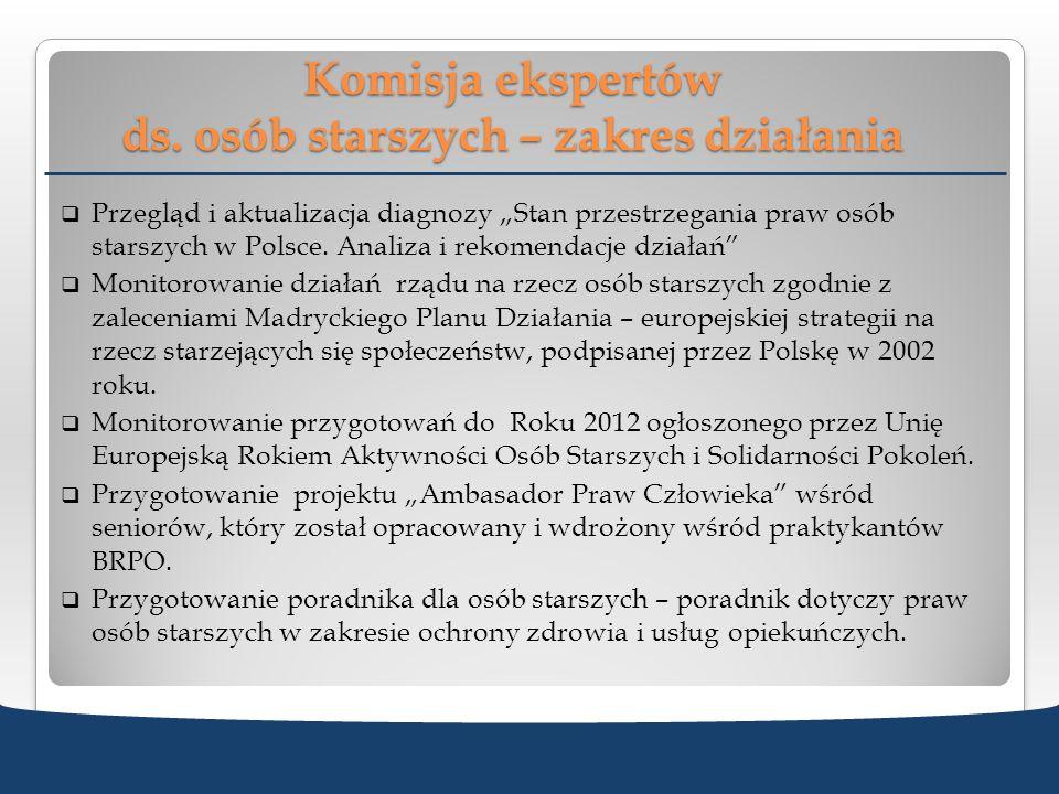 Komisja ekspertów ds. osób starszych – zakres działania Przegląd i aktualizacja diagnozy Stan przestrzegania praw osób starszych w Polsce. Analiza i r