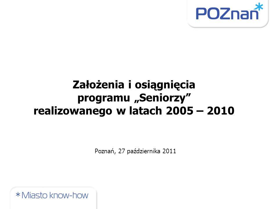 jedyny do tej pory w Polsce miejski program kierowany do wszystkich seniorów z terenu zamieszkania społeczności lokalnej prezentował holistyczne podejście do spraw osób starszych realizacja programu opierała się o współpracę wielu podmiotów, które do tej pory wspólnie nie działały w rozwiązywaniu spraw seniorów zadania zawarte w programie przewidziane do realizacji przez organizacje pozarządowe spowodowały, że w latach 2005 – 2010 w budżecie Miasta były zagwarantowane środki na ich realizację; zapewnienie stabilności finansowania prowadzonych działań przyczyniło się do wzrostu zainteresowania organizacji projektami kierowanymi do seniorów (organizacje wcześniej nie zajmujące się seniorami poszerzyły spektrum swojego działania) funkcjonowanie programu przyczyniło się do zmian świadomości władz Poznania, co do wagi wzrastającej liczby osób starszych wśród mieszkańców Poznania (decyzja o powołaniu Miejskiej Rady Seniorów i Centrum Inicjatyw Senioralnych) Wartość dodana osiągnięta dzięki realizacji programu Seniorzy
