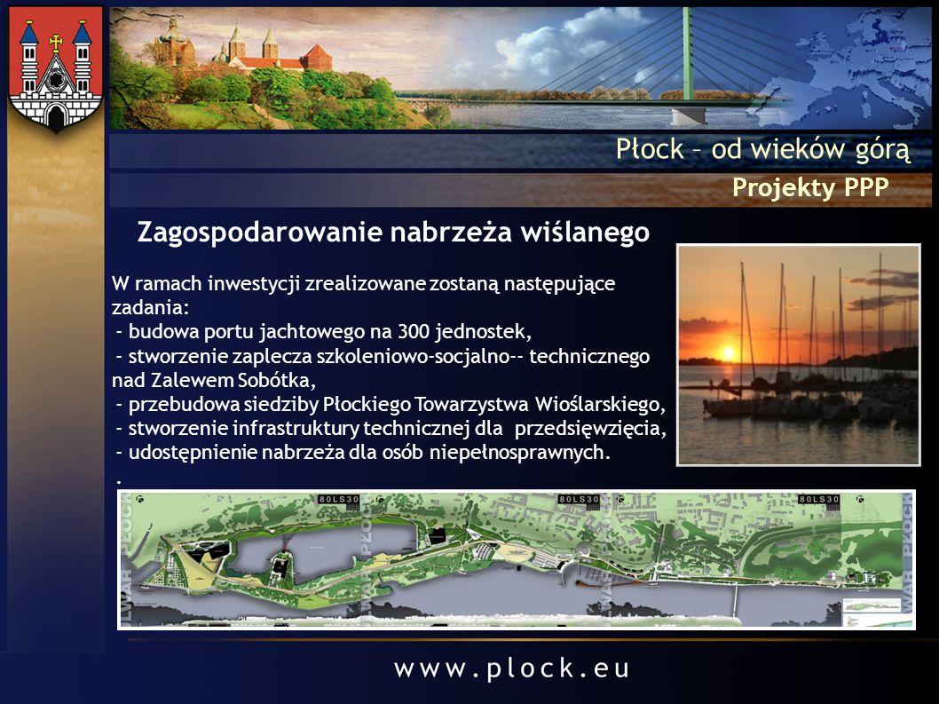Projekty PPP Płock – od wieków górą Zagospodarowanie nabrzeża wiślanego W ramach inwestycji zrealizowane zostaną następujące zadania: - budowa portu j