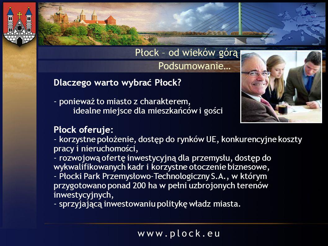 Płock – od wieków górą Dlaczego warto wybrać Płock? - ponieważ to miasto z charakterem, idealne miejsce dla mieszkańców i gości Płock oferuje: - korzy