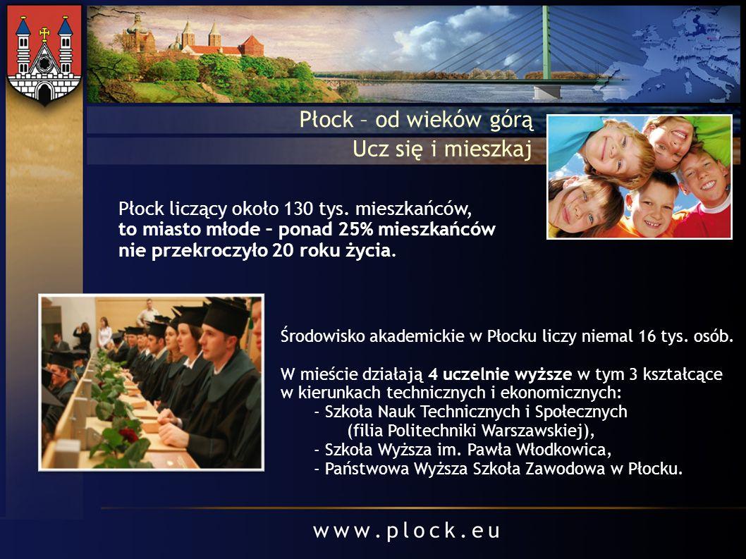 Środowisko akademickie w Płocku liczy niemal 16 tys. osób. W mieście działają 4 uczelnie wyższe w tym 3 kształcące w kierunkach technicznych i ekonomi