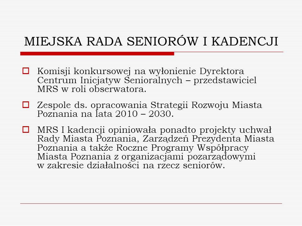 MIEJSKA RADA SENIORÓW I KADENCJI Komisji konkursowej na wyłonienie Dyrektora Centrum Inicjatyw Senioralnych – przedstawiciel MRS w roli obserwatora. Z