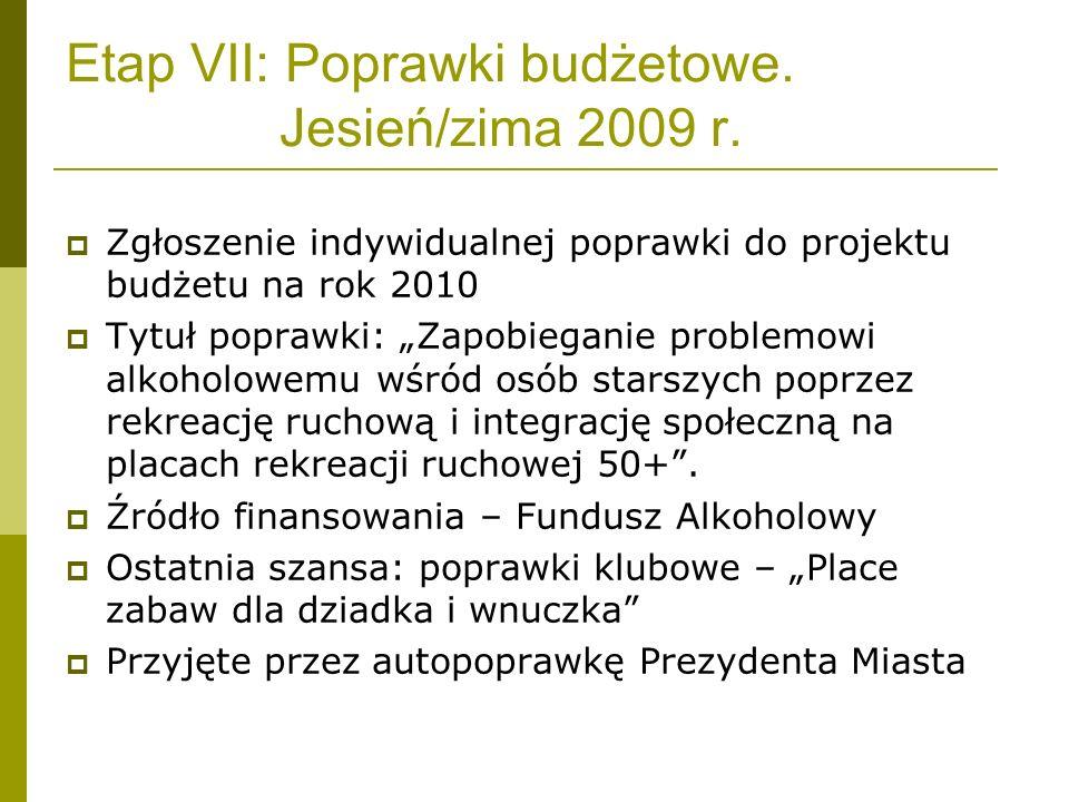 Etap VII: Poprawki budżetowe. Jesień/zima 2009 r. Zgłoszenie indywidualnej poprawki do projektu budżetu na rok 2010 Tytuł poprawki: Zapobieganie probl