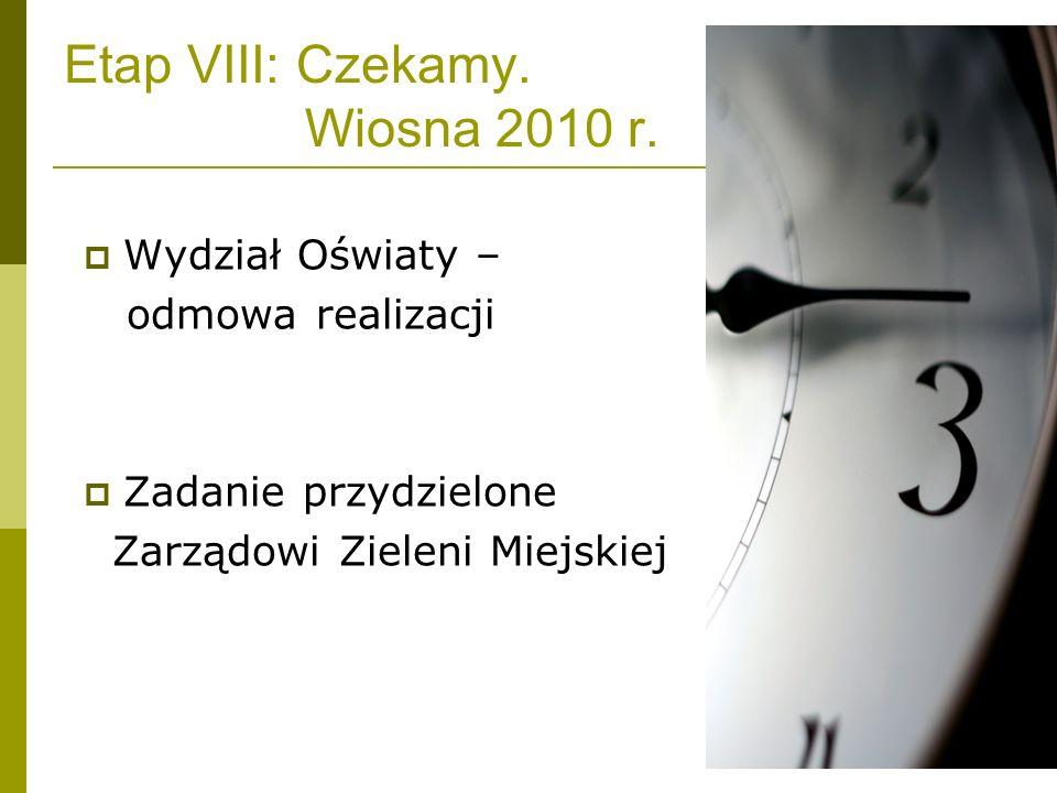 Etap VIII: Czekamy. Wiosna 2010 r. Wydział Oświaty – odmowa realizacji Zadanie przydzielone Zarządowi Zieleni Miejskiej