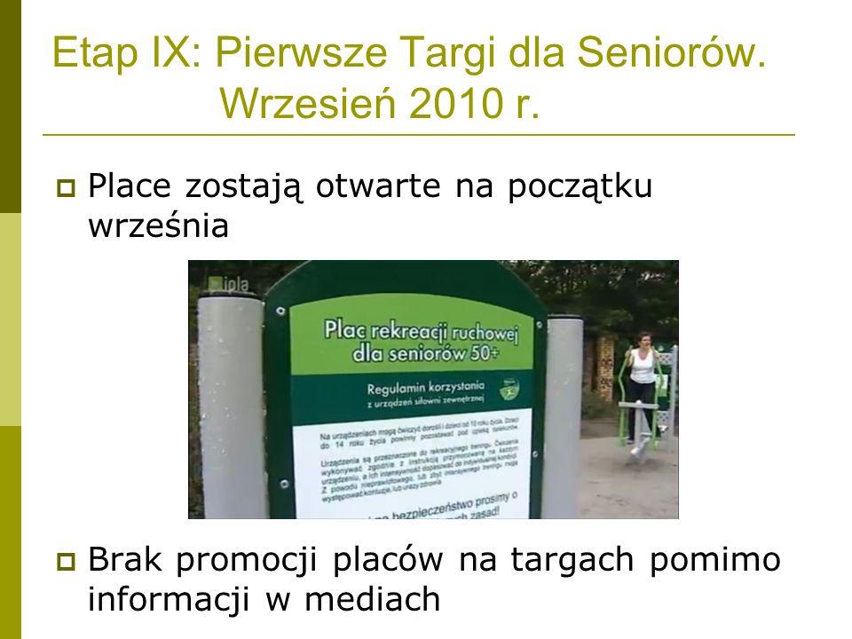 Etap IX: Pierwsze Targi dla Seniorów. Wrzesień 2010 r. Place zostają otwarte na początku września Brak promocji placów na targach pomimo informacji w
