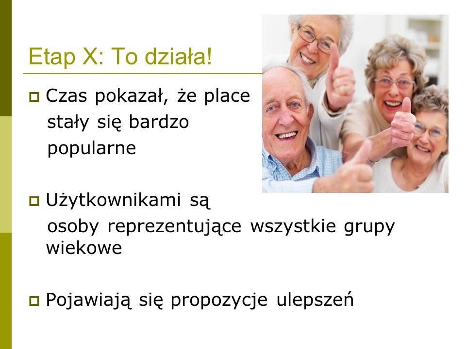 Etap X: To działa! Czas pokazał, że place stały się bardzo popularne Użytkownikami są osoby reprezentujące wszystkie grupy wiekowe Pojawiają się propo