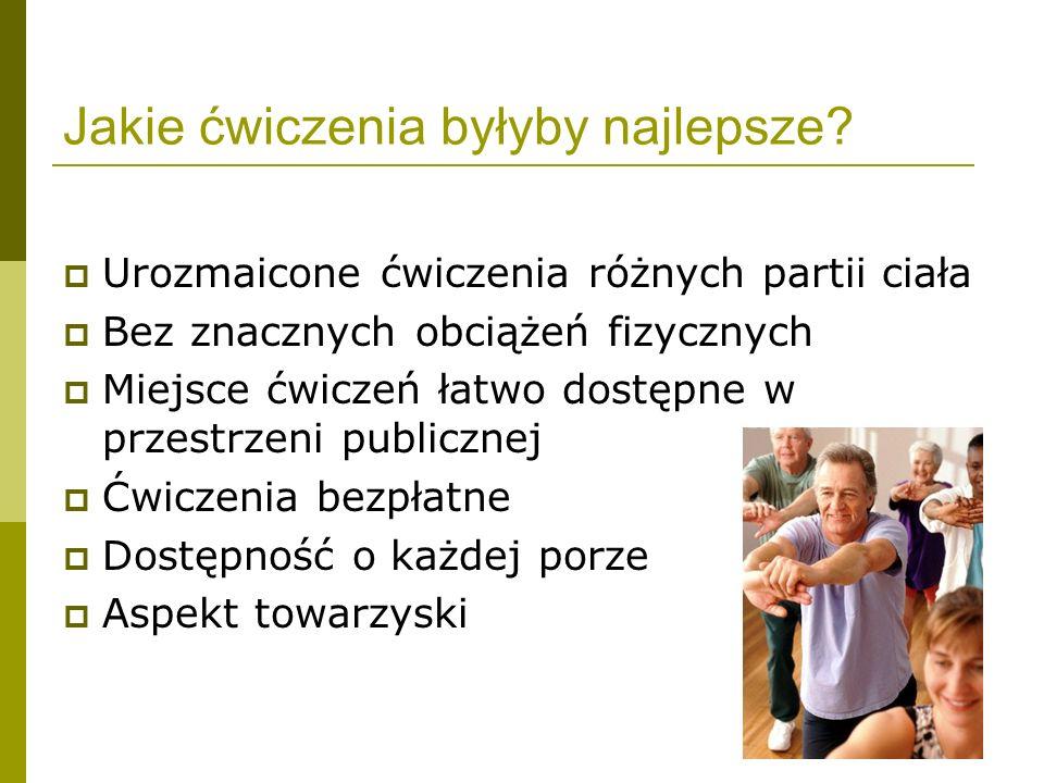 Jakie ćwiczenia byłyby najlepsze? Urozmaicone ćwiczenia różnych partii ciała Bez znacznych obciążeń fizycznych Miejsce ćwiczeń łatwo dostępne w przest